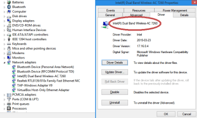 [ Intel 7260 in Windows device manager ]