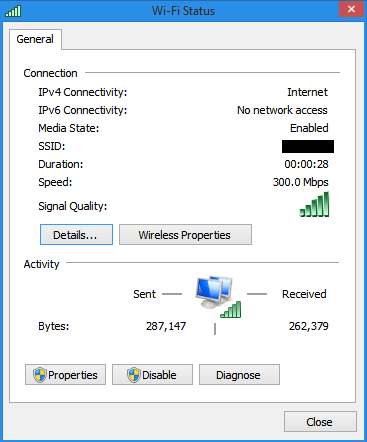 [ Intel 7260 connected at 300 Mbps ]