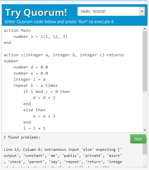[ Online Quorum compiler cannot run code snippet in Stefik & Siebert 2013 ]